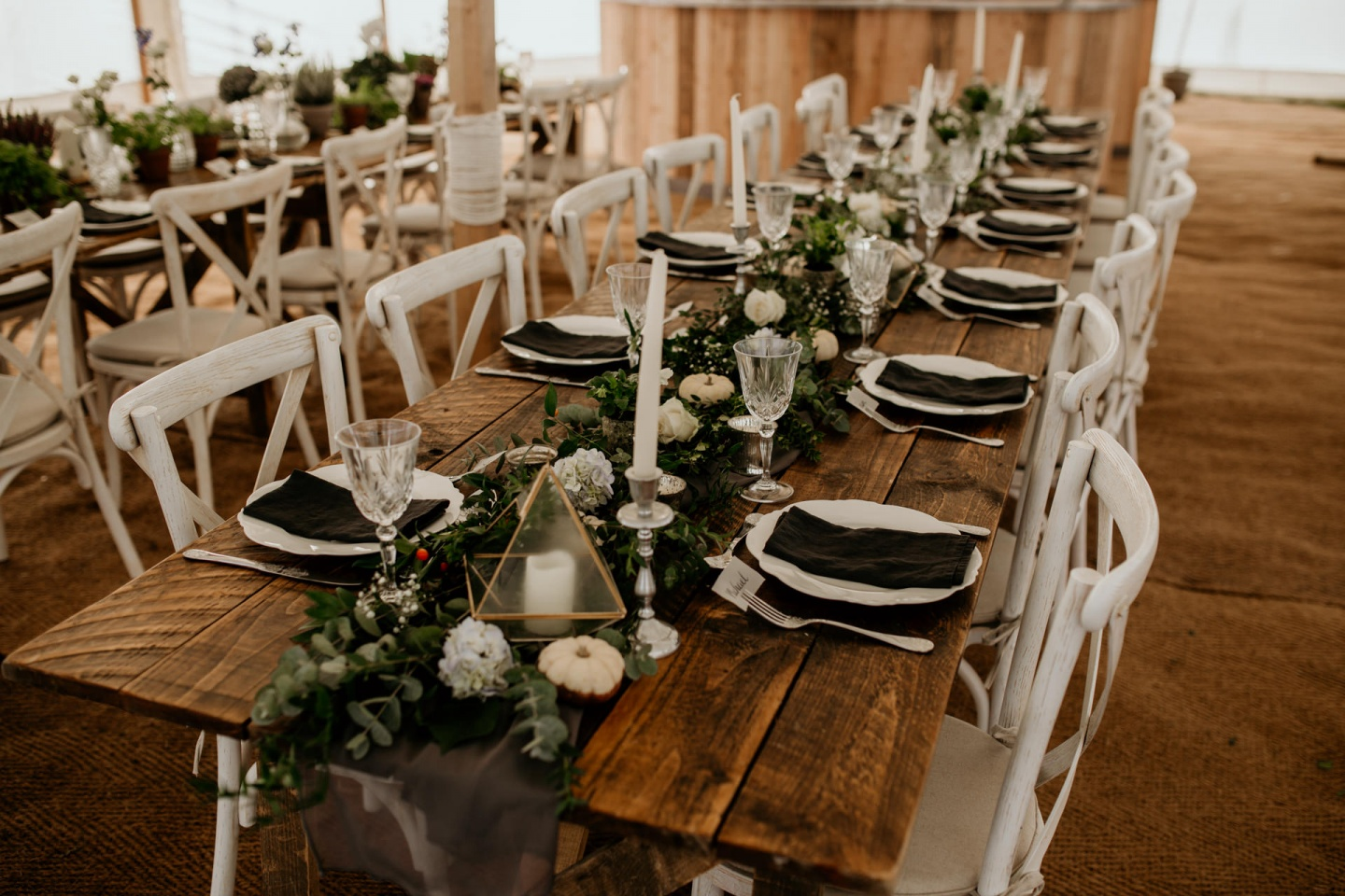Autumn wedding table set up in white and black