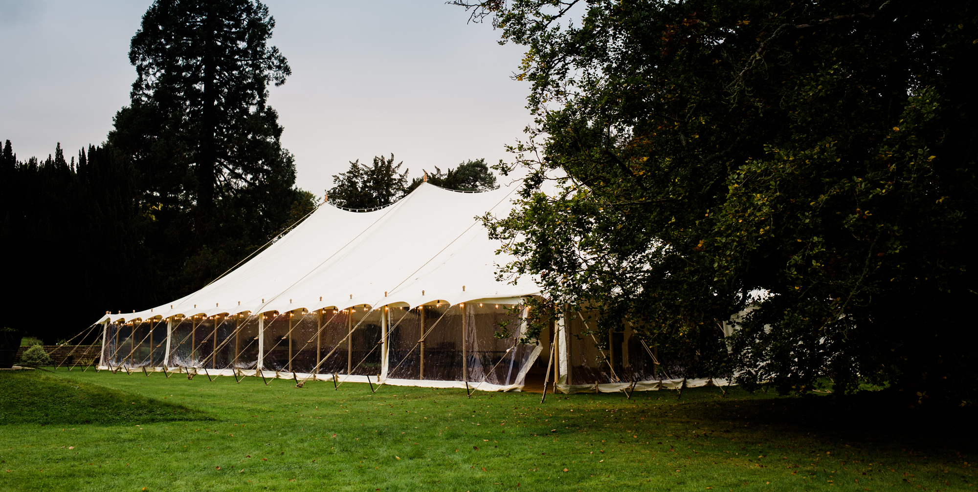 Marquee wedding set up in Cotswolds