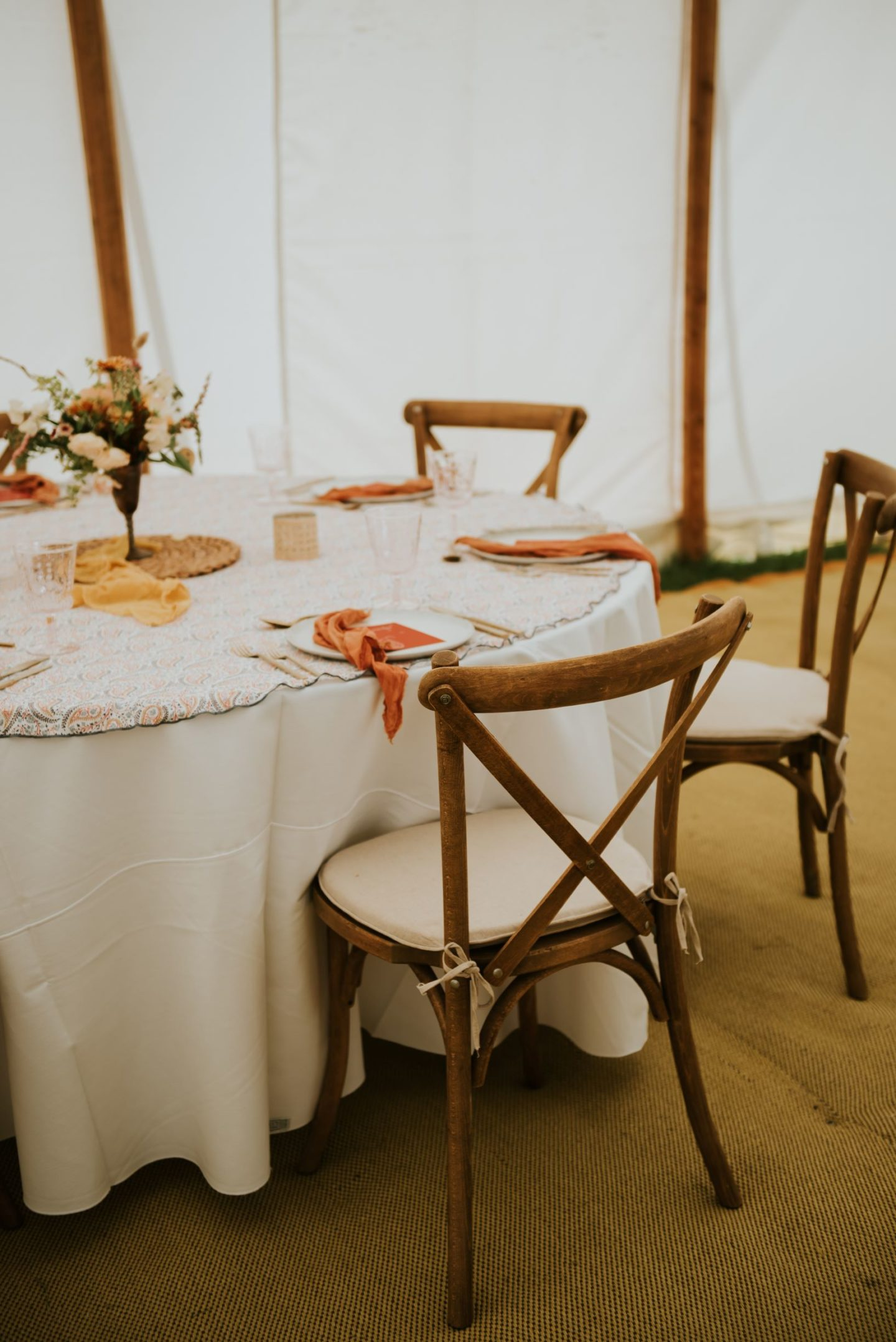round boho table in marquee