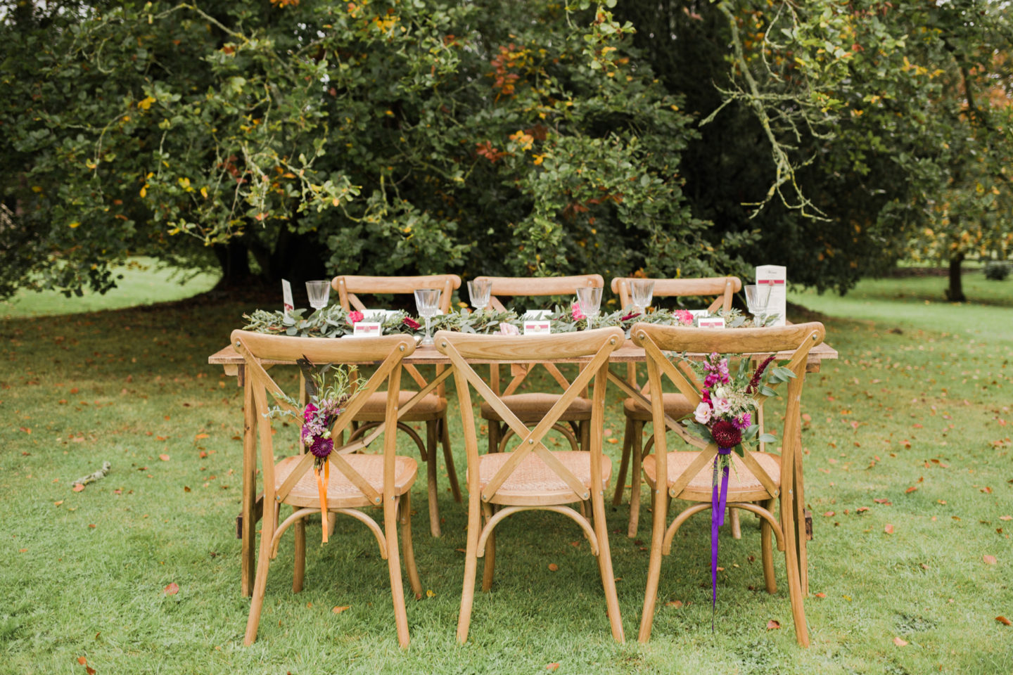 Outdoors wedding table set up