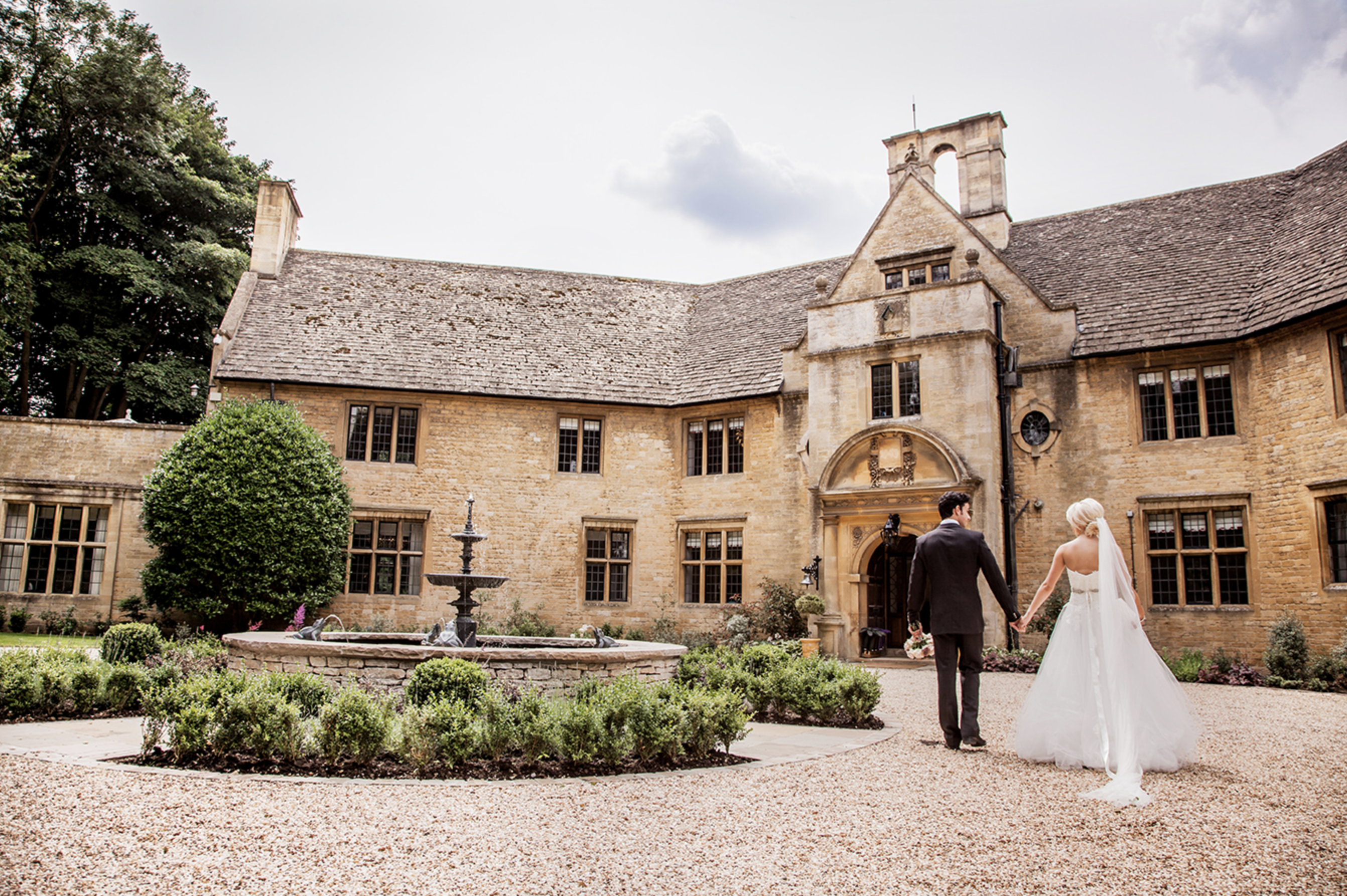 Bride and groom outside the Foxhill manor