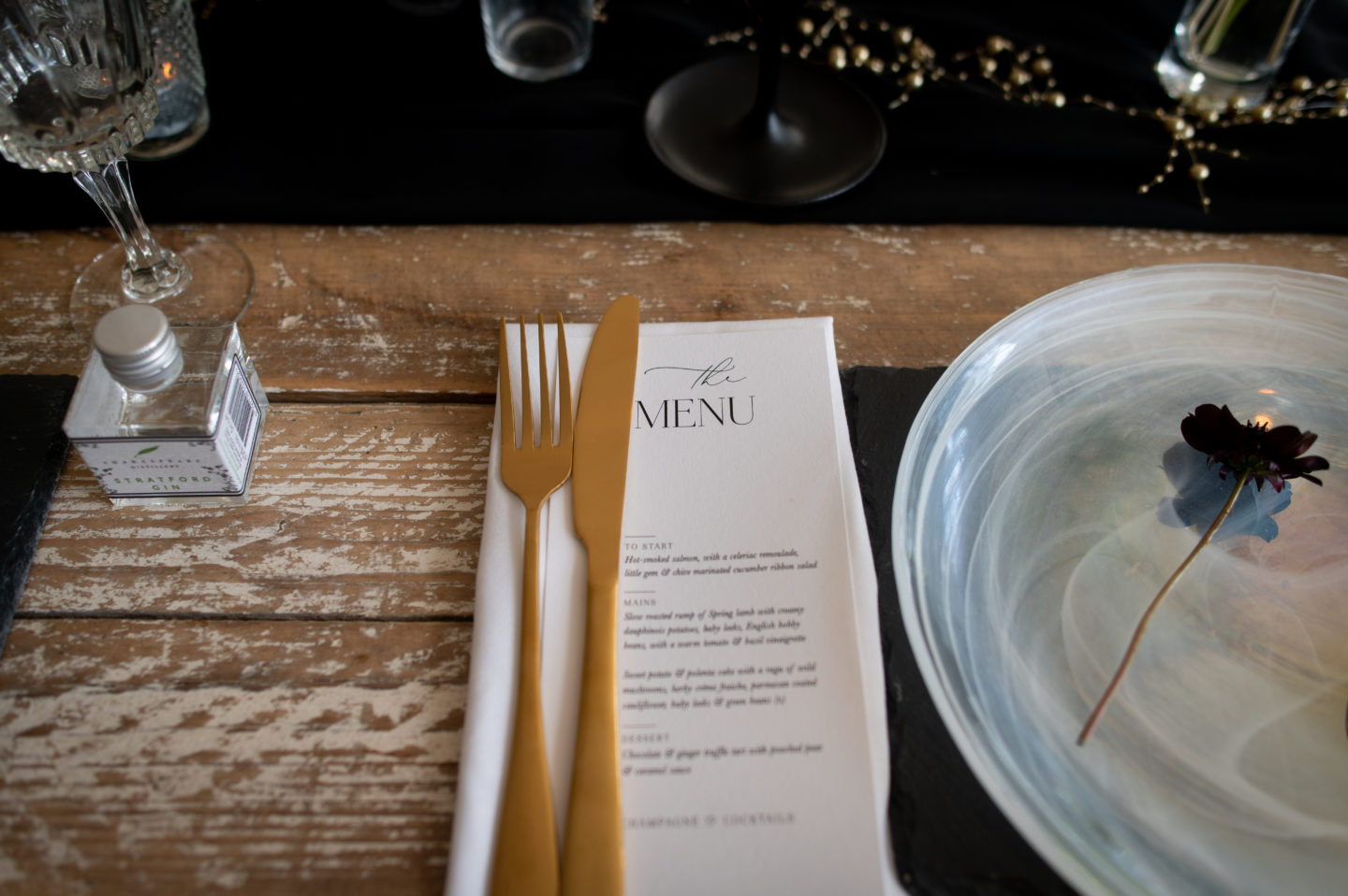Table place setting with white plate