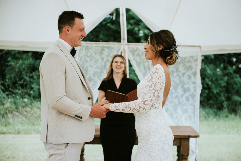 Celebrant UK wedding in Marquee