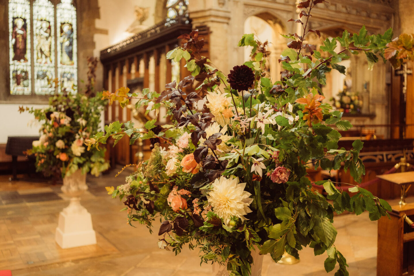 Floral display wedding in Church in England