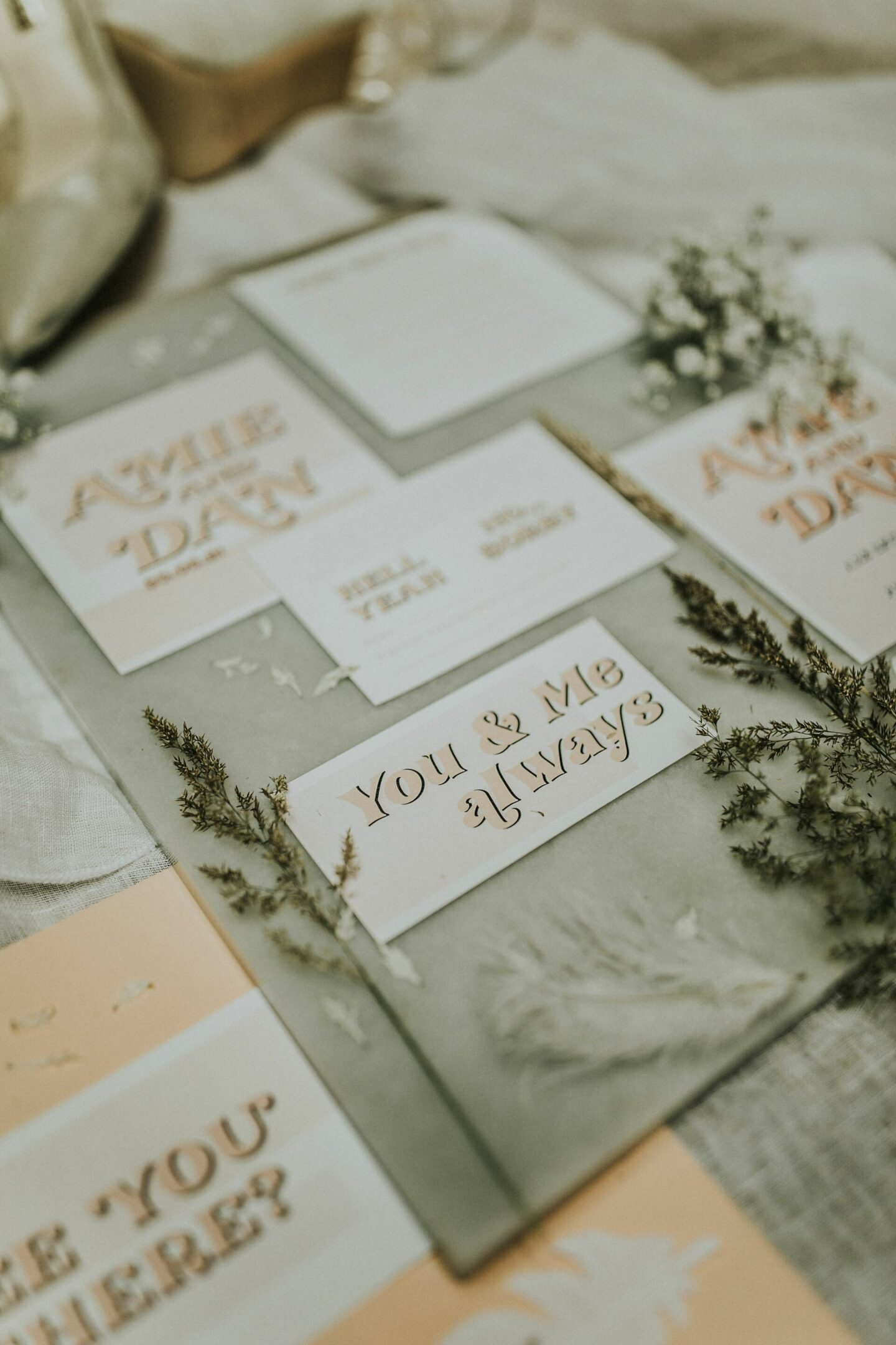 Wedding stationery boho modern