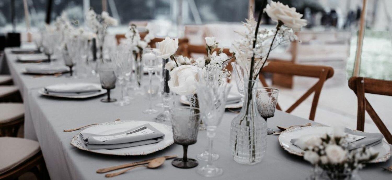 white marquee wedding
