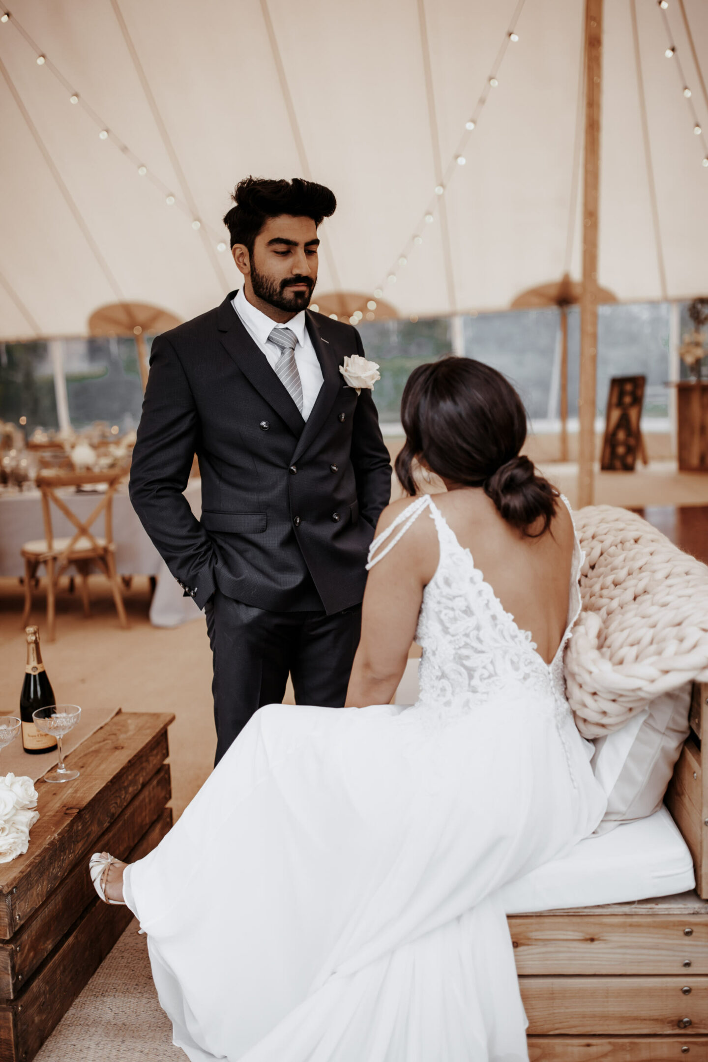 white marquee lux wedding