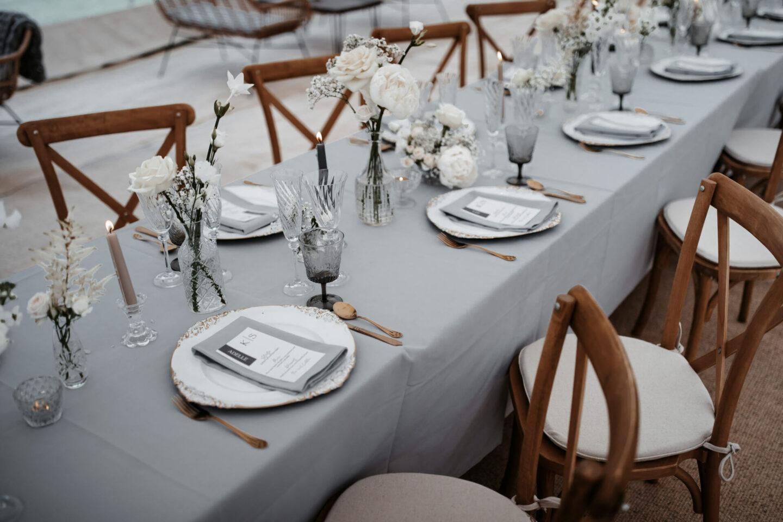 White wedding tablescape