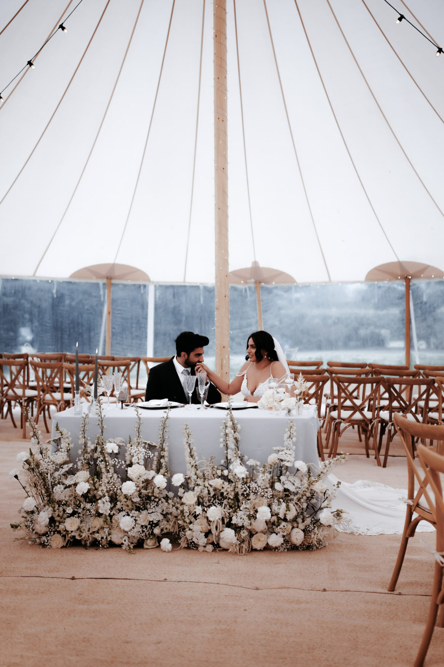 Sweetheart table in the marquee